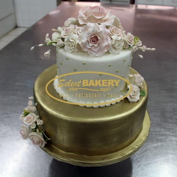 Wedding Cake White & Gold - Select Bakery