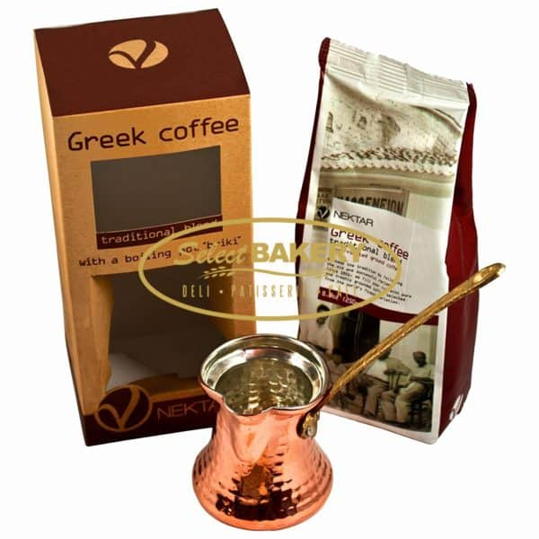 "NEKTAR TRADITIONAL BLEND GREEK COFFEE WITH COFFEE POT ""BRIKI"""