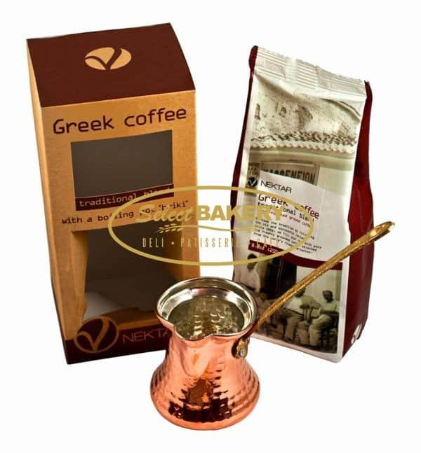 """NEKTAR TRADITIONAL BLEND GREEK COFFEE WITH COFFEE POT """"BRIKI"""""""