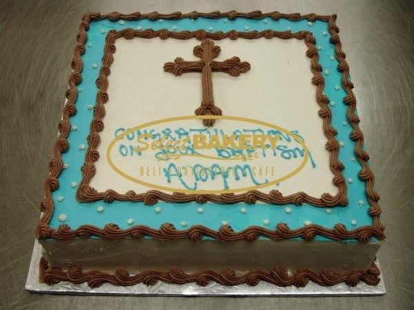Baptism Cake - Framed Cross