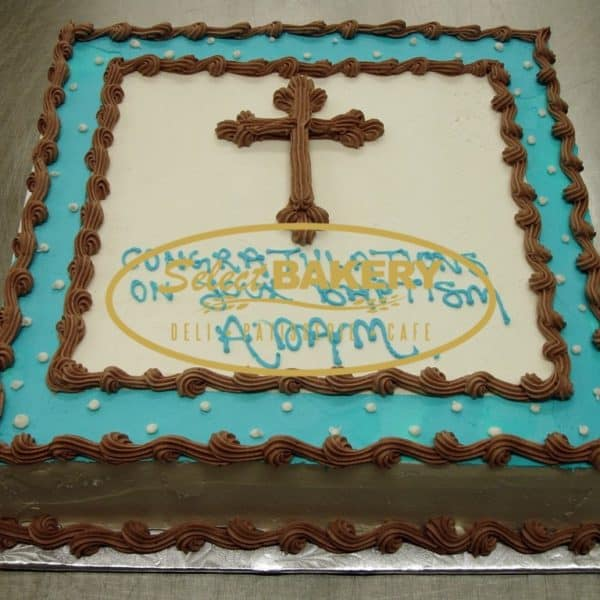 Baptism Cake - Framed Cross