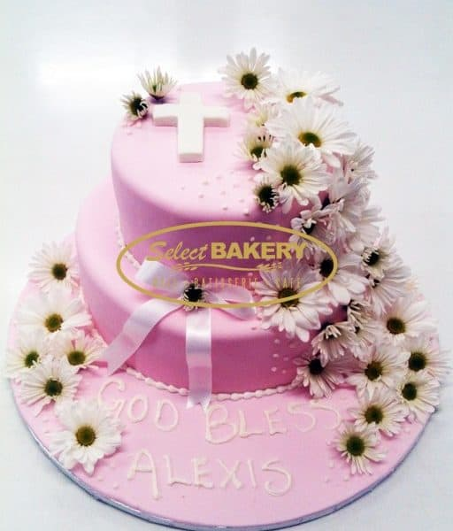 Baptism Cake - Girl Flowers