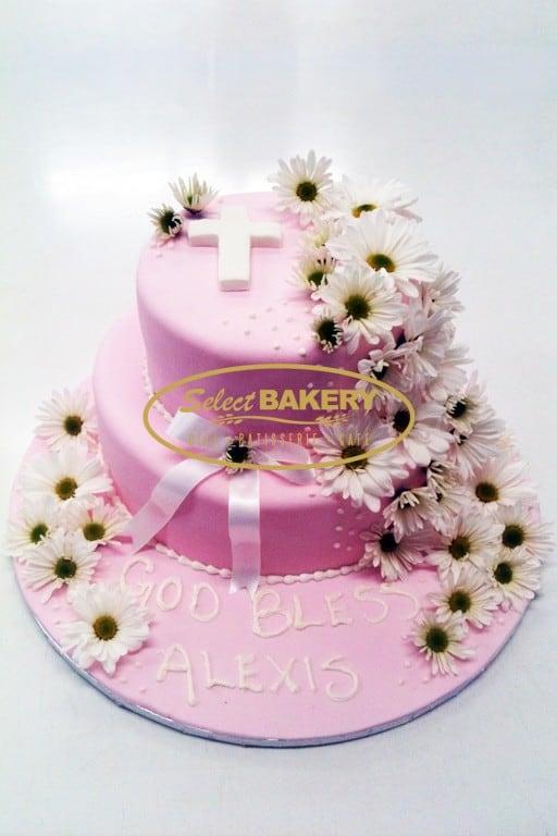 Baptism Cake - Girl Flowers