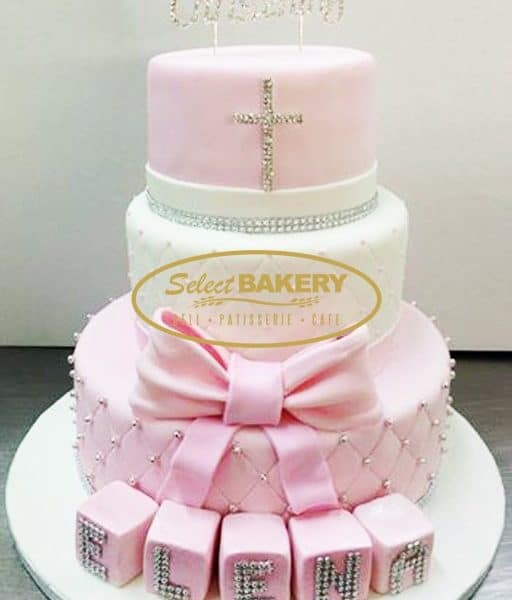 Baptism Cake - 3 Tiered Girls