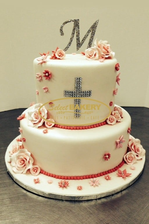 Baptism Cake - 2 Tiered with Topping