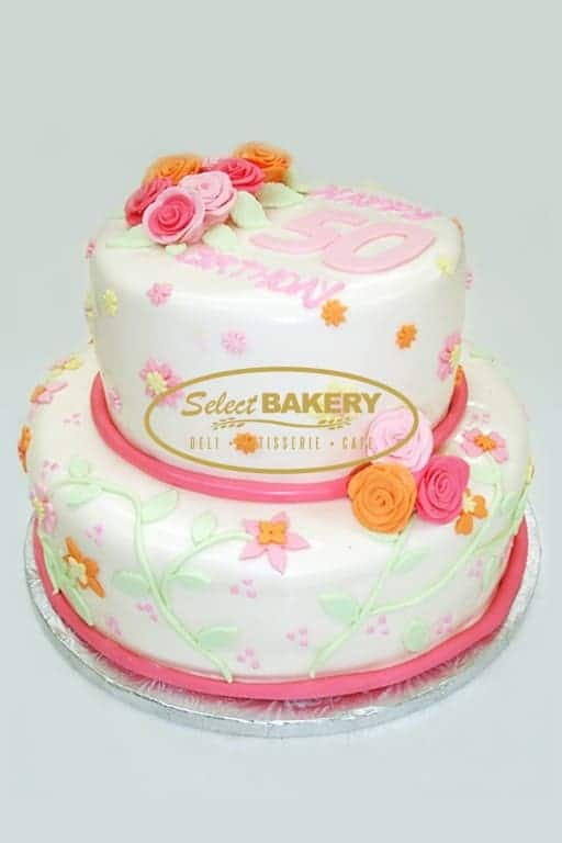 Birthday Cake - 2 Tiered Flowers