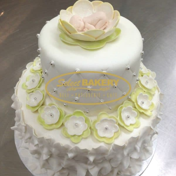 Baptism Cake with Baby in Flower 1209