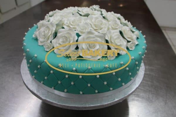Baptism Cake Turquoise Roses 489