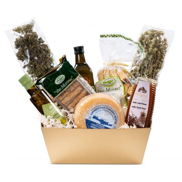 Cretan Gift Basket Great gift idea as a Christmas gift for your loved ones and corporate partners. The price includes the gift packaging and shipping is available in Toronto/GTA The basket includes: 1. Nisos Imports Oregano Sticks 2. Nisos imports Mountain Tea sticks 3. Select Bakery 750ml Olive oil 4. Agro Creta Oregano Infused Olive oil 5. Meligiris Amber Liquid Honey 500g 6. To Manna Olive oil Biscuits 7. To Manna Olive Oil Rusks 8. Kokinos Graviera Kritis