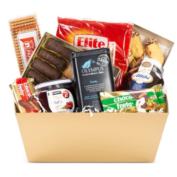 Cretan Gift Basket Great gift idea as a Christmas gift for your loved ones and corporate partners. The price includes the gift packaging and shipping is available in Toronto/GTA The basket includes: Nisos Imports Oregano Sticks Nisos imports Mountain Tea sticks Select Bakery 750ml Olive oil Agro Creta Oregano Infused Olive oil Meligiris Amber Liquid Honey 500g To Manna Olive oil Biscuits To Manna Olive Oil Rusks Kokinos Graviera Kritis