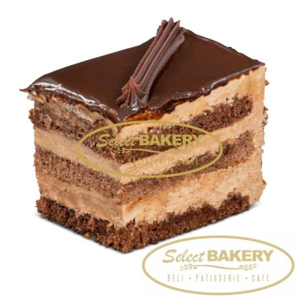 Chocolate Cake Slice Fresh Pastries by Select Bakery - 3 layers of chocolate sponge cake filled with chocolate mousse and topped with a rich ganache
