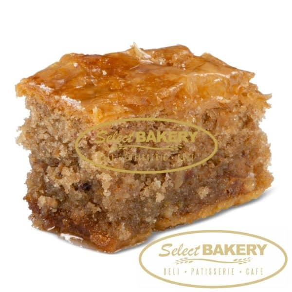 Kopehai Cinnamon almond sponge cake with a short crust base, topped with fillo pastry and soaked in honey Fresh and Authentic Greek Pastries by Select Bakery - 405 Donlands Ave Toronto, ON