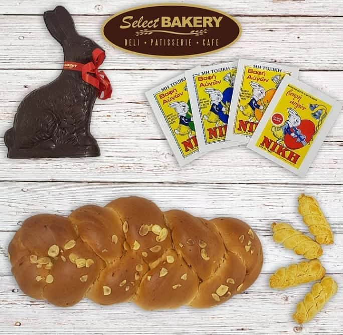 Select Bakery Easter Special Egg Dye, Tsoureki, CHocolate bunny