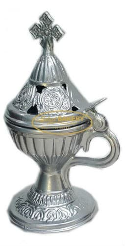 Gold, silver and charcoal incense burners are typical relics in Greek Orthodox homes and churches. They are easy to use and we carry incense and charcoal for use with these burners.