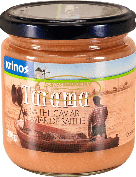Tarama is saithe eggs that have aged and cured for over a year. It is used for hors d'oeuvres or in the preparation of Taramosalata, a delicious Greek spread. Tarama is gluten free.