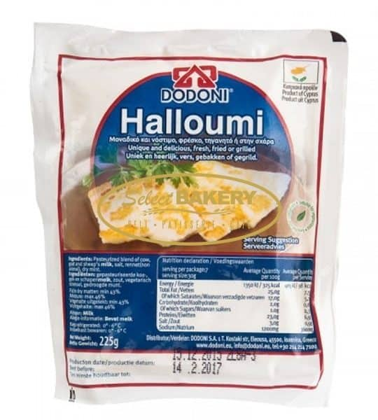 DODONI HALLOUMI 225g $8 Halloumi is produced according to the Cypriot traditional cheese-making methods, in accordance with high quality standards in the new factory of DODONI in Limassol, Cyprus. With a hint of refreshing mint, it is equally delicious as it is, fried or grilled, since the high melting point allows Halloumi to form a delicious golden crust.