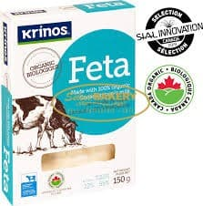 KRINOS ORGANIC FETA CHEESE Krinos Organic Feta Cheese is made from 100% organic Canadian cow's milk. It has theclassic feta cheesetaste and is suitable fora variety of dishes.Gluten free.No sulphites.