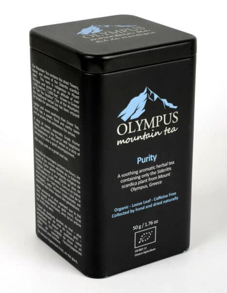Olympus Mountain Tea Organic Greek Mountain Tea (Sideritis Scardica), Hand Picked, Loose Leaf, Caffeine Free. Packaged in food grade Metal Tin Box. A soothing aromatic herbal tea containing only the Sideritis Scardica plant from Mount Olympus, Greece. Sweet, floral & earthy with an aroma that exhilarates the senses.