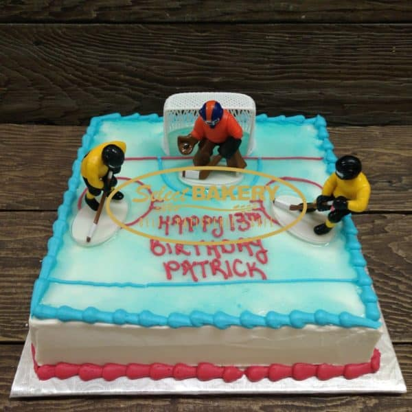 Hockey Birthday Cake for 20-25 people Square cake, easy to slice and enough for a big birthday party. Celebrate a great season or someone's love of hockey with this cake decorating set.