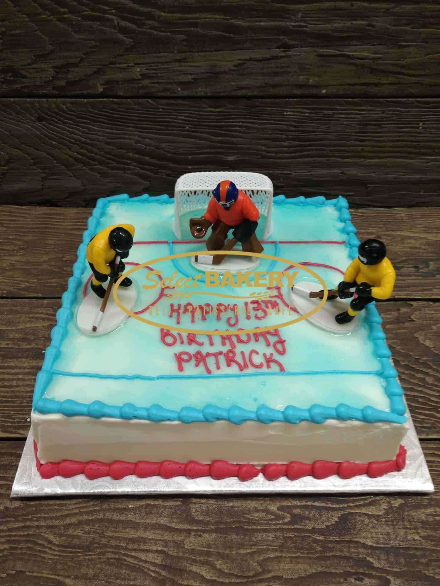 Fabulous Hockey Birthday Cake For 35 40 People Select Bakery Personalised Birthday Cards Veneteletsinfo