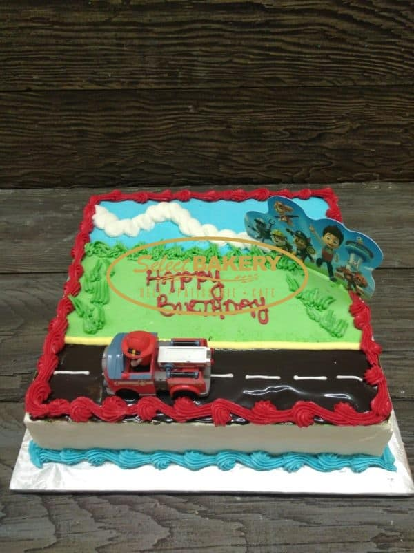 Paw Patrol Birthday Cake for 20-25 people This very cute cake will be all the talk at your child's birthday party or special event! This is square-shaped cake for any Paw Patrol lover. Order timeline: please allow us 3 days to prepare this cake for you. Pick up in-store only!