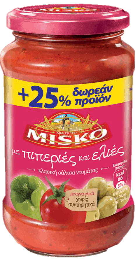 """MISKO Sauce with Peppers and Olives 500g Finely chopped olives are mixed with fresh tomatoes and exquisite peppers, creating a sauce with a wonderful authentic flavour, ready to """"embrace"""" your favourite Greek Misko Pasta! Available for delivery in Canada and US by Select Bakery!"""