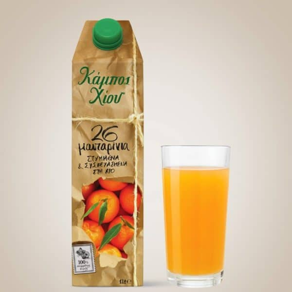 Chios Gardens - Mandarin Juice 1l 100% Freshly Squeezed Mandarin Juice from 26 pcs. Greek Mandarins. No preservatives, no added sugar.