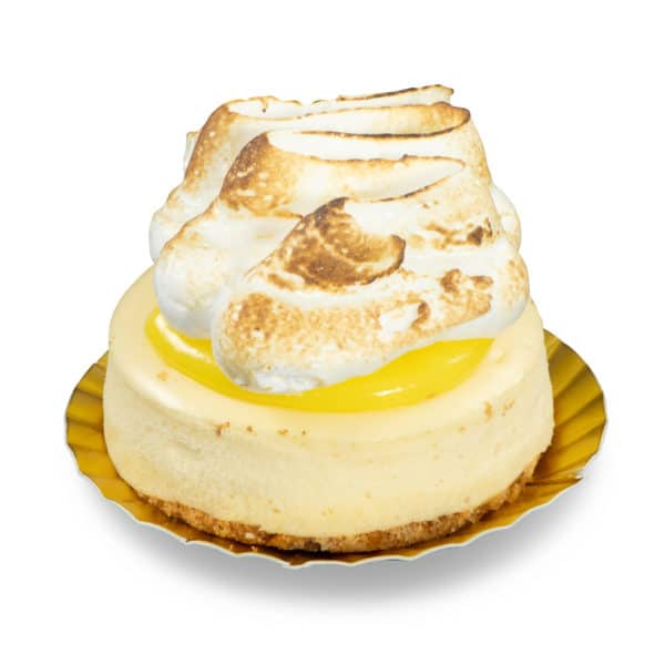 Lemon Meringue Cheesecake New York style cheesecake topped with lemon curd and a fluffy meringue topping. - Baked freshly in Select Bakery's kitchen